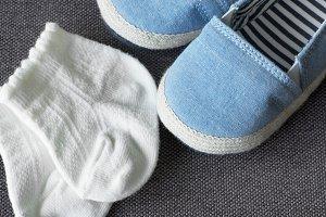 Closeup of baby's footwear