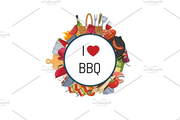 Barbecue Or Grill Elements Around Circle