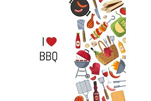 Vector illustration barbecue or grill cooking