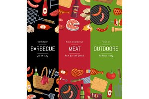 Vector vertical banner templates for barbecue or grill cooking