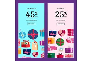 Vector vertical sale banner templates with gift boxes