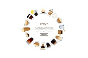 Vector circle of coffee cups illustration