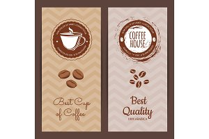 Vector coffee shop or brand logo banner