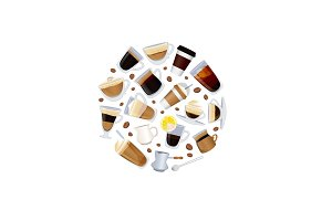 Vector different types of coffee with beans illustration