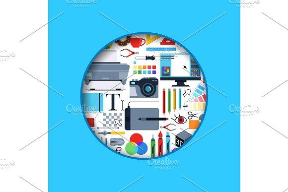 Vector Circle Digital Art Design Icons Illustration