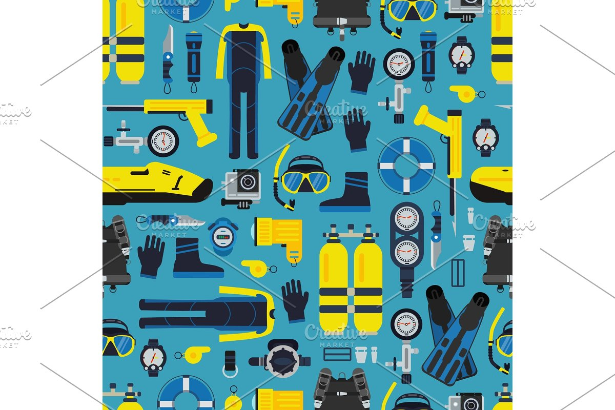 Vector underwater diving equipment pattern or background