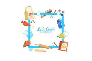Vector frame cooking ingridients or groceries