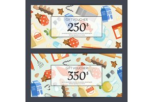 Vector cooking groceries discount or gift card