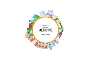Vector pharmacy or medicines around circle
