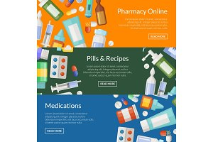 Vector cartoon pharmacy or medicines horizontal banner templates
