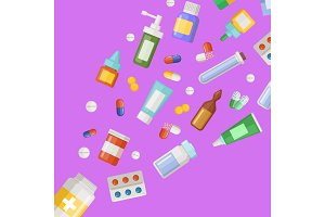 Vector medicines flying from pill bottle
