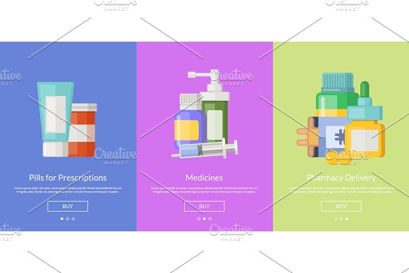 Vector Online Pharmacy Template For Buying Medicines