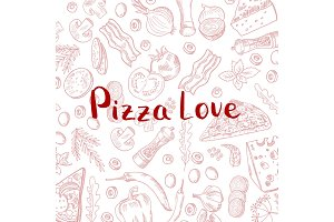 Vector hand drawn cooking pizza elements background