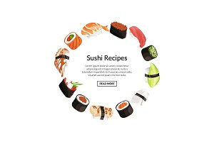 Vector cartoon sushi elements circle concept