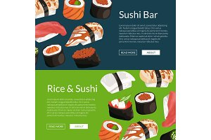 Vector cartoon sushi horizontal banner templates