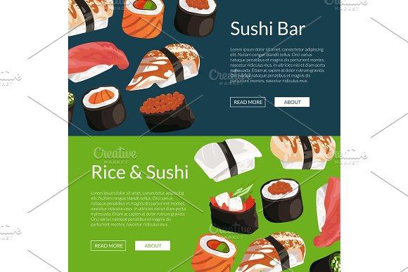Vector cartoon sushi horizontal banner templates