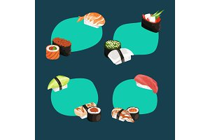 Vector cartoon sushi types stickers set