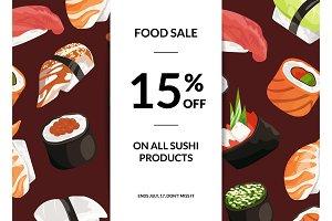Vector cartoon sushi sale