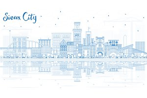 Outline Sioux City Iowa Skyline