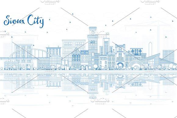 Outline Sioux City Iowa Skyline