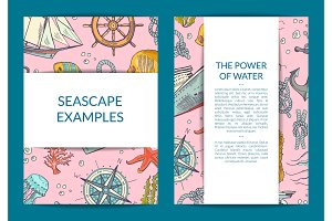 Vector sketched sea elements card or brochure template