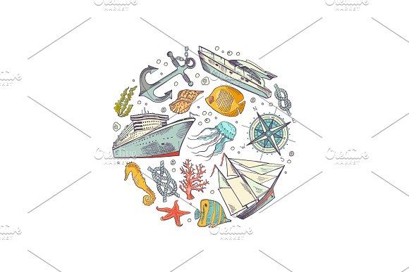 Vector Sketched Sea Elements Circle Concept Illustration
