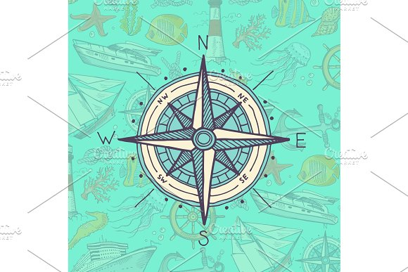Vector Colored And Sketched Compass