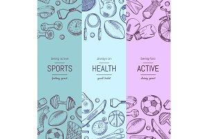 Vector hand drawn sports equipment vertical banner templates