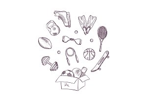 Vector hand drawn sports in box illustration