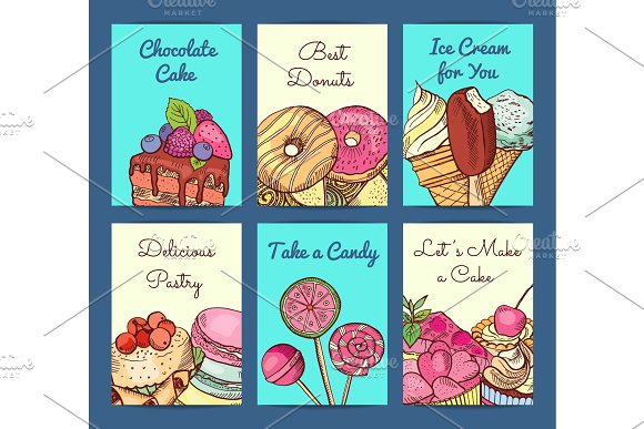 Vector Hand Drawn Colored Sweets Shop Card Or Flyer
