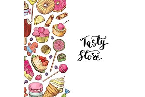 Vector hand drawn colored sweets shop or confectionary
