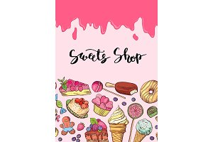 Vector hand drawn sweets illustration banner