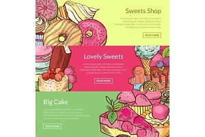 Vector hand drawn sweets horizontal banner