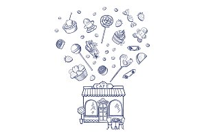 Vector hand drawn sweets shop building