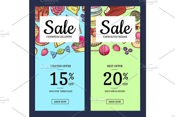 Vector hand drawn sweets vertical sale banner templates