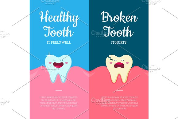 Vector Concept Illustration With Cartoon Healthy And Ill Broken Teeth