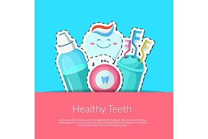 Vector cartoon teeth hygiene stickers