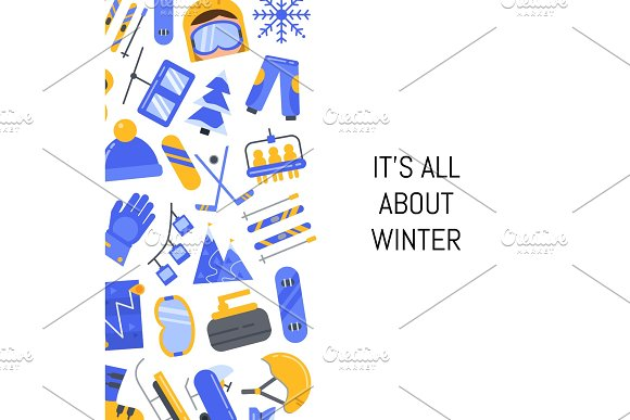 Vector Flat Style Winter Sports Equipment