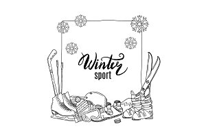 Vector hand drawn winter sports equipment elements