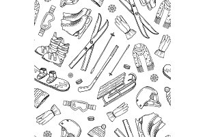 Vector hand drawn winter sports equipment and pattern or background
