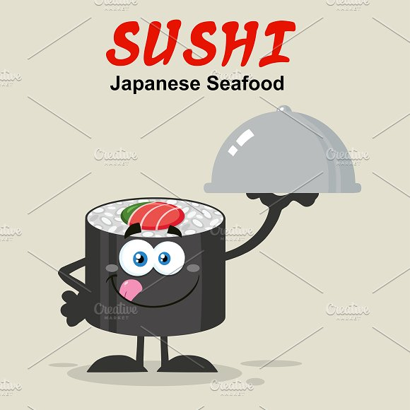Sushi Roll Illustration Flat Style