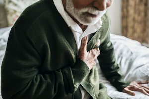 An elderly man with heart problem