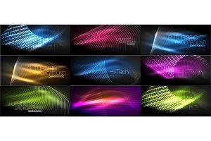 Set of hi-tech futuristic techno backgrounds, neon shapes, waves and lines