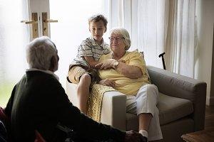 Grandson and grandparents