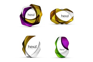Set of hexagon shape business emblems