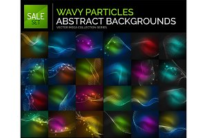 Neon glowing light abstract backgrounds collection