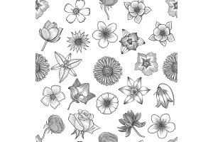 Spring flowers seamless