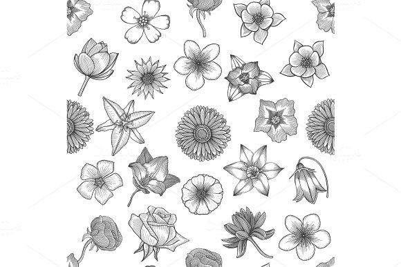 Spring flowers seamless