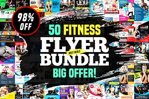 50-Fitness Flyers Bundle Template