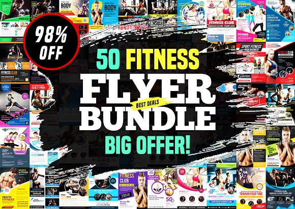 50-Fitness Flyers Bundle Te-Graphicriver中文最全的素材分享平台